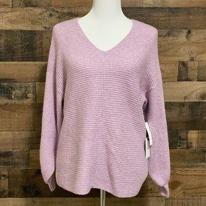 1.State Lavender Blouson Sleeve V-Neck Sweater